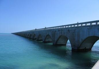 Water over a bridge