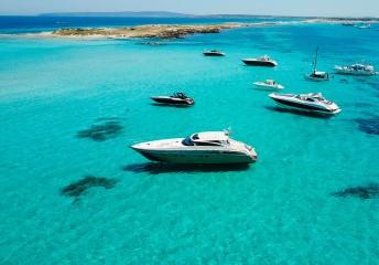 Boats and yachts off the coast of Ibiza