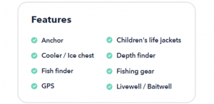 Boat Features Information section - Boatsetter